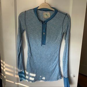 Free People Long Sleeve Tee Shirt with Buttons